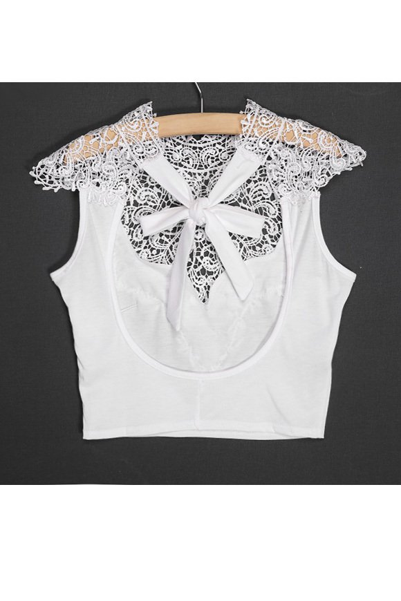 Women Lace Backless Sleeveless Hollow Out Crop Tops (White) product preview, discount at cheapest price