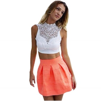 Women Lace Backless Sleeveless Hollow Out Crop Tops (White)