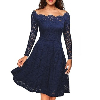 Women Lace Floral Off Shoulder Solid Color Long Sleeve Dress(Navy Blue) - intl