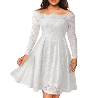 Women Lace Floral Off Shoulder Solid Color Long Sleeve Dress(white)- intl