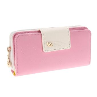 Women Ladies PU Leather Long Fold Zipper Purse Card Money CashCellphone Hand Purse Wallet Color A - intl