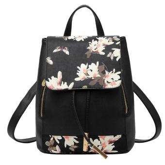 Women Lady PU Leather Casual Style Shoulder Bucket Backpack Bag forShopping School Travel Black with Printing Pattern - intl