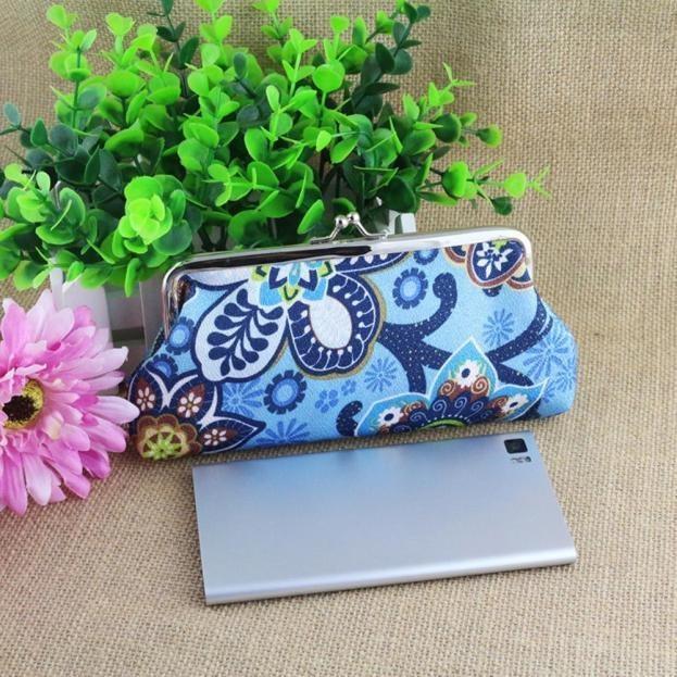 Women Lady Retro Vintage Printing Long Wallet Hasp Purse Clutch Bag YE - intl