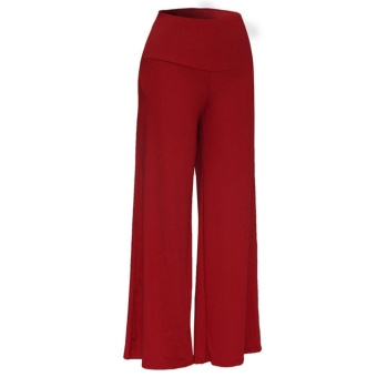 Women Lady Trousers Palazzo Stretch Wide Leg High Waist Long LooseCasual Pants Dark Red - intl