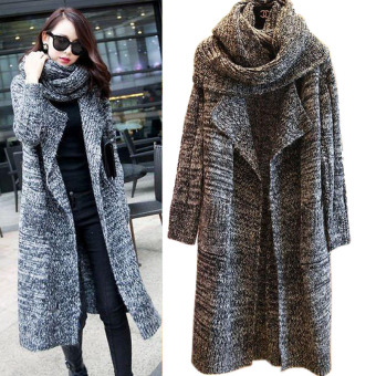 Women Long Cardigans Autumn Winter Thicken Coat Casual Knitted Oversized Sweaters Warm Outwear Scarf Collar DARK GRAY - intl