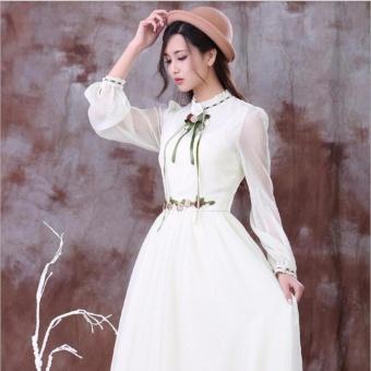 Women Long Sleeve Cotton Linen Casual Long Maxi Kaftan Hippie DressBall Gown (white) - intl - 4