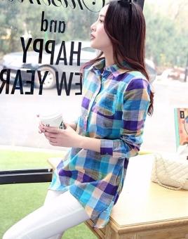 Women Long Sleeve Lapel Long Plaid Casual Shirt Blouse - Intl - 2