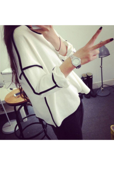 Women Loose Geometric Design Long Sleeve Tops (White) - picture 2