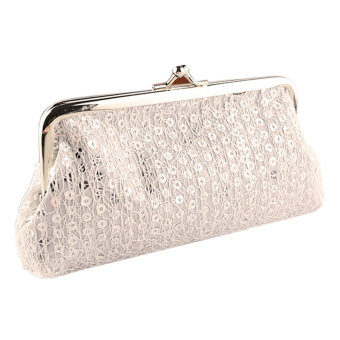 Women Lovely Style Lady Wallet Hasp Sequins Purse Clutch Bag White(Int: One size)
