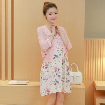 Women Maternity Floral Dresses Two Piece Suit Pink - intl