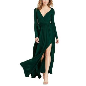 Women Maxi Dress Long Sleeve V-Neck Pure Polyester One-piece Dress (Deep Green) - intl