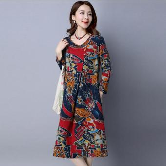 Women Maxi Long Linen Dress Vintage Floral Print Dresses BatwingLong Sleeve Pockets Casual Loose Vestidos Plus Size - intl