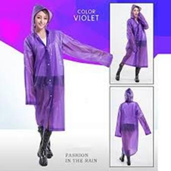 Women / Men Waterproof Jacket Clear PVC Raincoat Rain Coat Hooded(Violet)