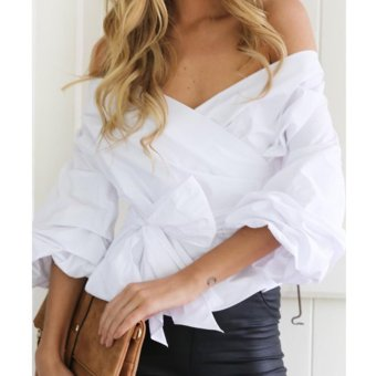Women Off Shoulder Shirts Long Sleeve Clothe V-neck Slim Blouse(White) - intl - 2