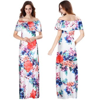 Women Off Shoulder Sleeveless Floral Printed Ruffles Dress Strapless Long Dress Multicolor - intl