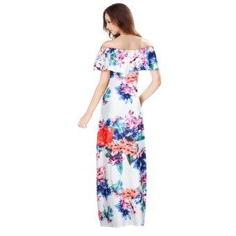 Women Off Shoulder Sleeveless Floral Printed Ruffles Dress Strapless Long Dress Multicolor - intl - 3