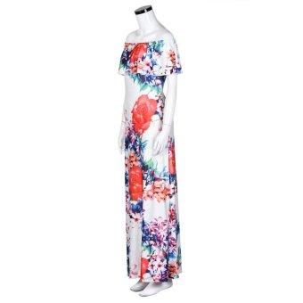 Women Off Shoulder Sleeveless Floral Printed Ruffles Dress Strapless Long Dress Multicolor - intl - 4