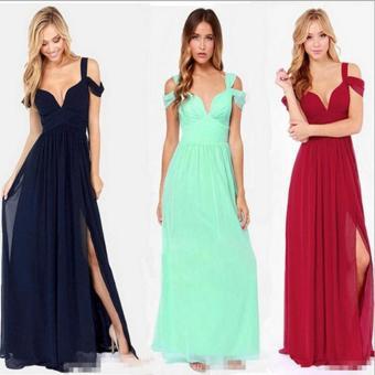 Women Party Dress Strap V-Neck Chiffon Bohemia Long Dress (Navy Blue) - intl - 2