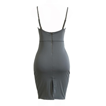 Women Pencil Dress Solid Plunging V Neck Sleeveless Bandage Lace Up Midi Backless Bodycon One-Piece Grey - intl - 5