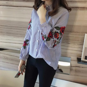 Women Plus Size Blouses Ladies Floral Embroidery Blouse Lantern Long Sleeve Fashion Casual Shirt(blue color) - intl