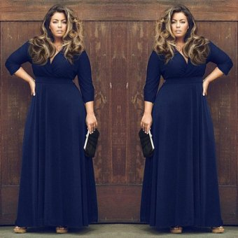 Women plus size elegant fashion party dress V-neck evening Big yards dress Dark blue - intl