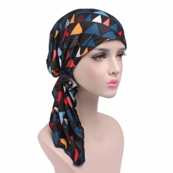 Women Printing Cancer Chemo Hat Beanie Scarf Turban Head Wrap Cap - intl