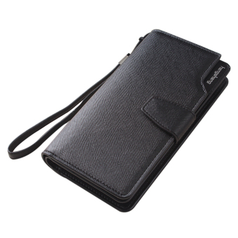 Women PU Leather Zipper Coin Purse Wristband Hasp Fashion Women Wallet (Black)