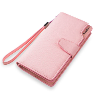 Women PU Leather Zipper Coin Purse Wristband Hasp Fashion Women Wallet (Pink)