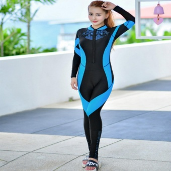 Women Rash Guards Surf Wear Swim Suit Diving Wetsuit RashguardWomen Bodysuit Long Sleeve Swimsuit (Lake Blue) - intl