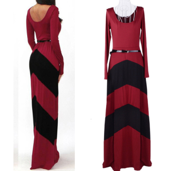 Women Red Black Stripe Long Sleeve Bodycon Cocktail Casual Maxi Dress XXL - intl - 3