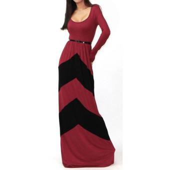 Women Red Black Stripe Long Sleeve Bodycon Cocktail Casual Maxi Dress XXL - intl - 4