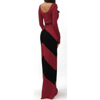 Women Red Black Stripe Long Sleeve Bodycon Cocktail Casual Maxi Dress XXL - intl - 5