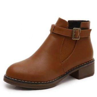 Women 's Shoes New Waterproof Boots Round Boots Martin Belt BuckleWomen Boots (Brown) - intl