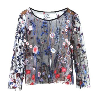 Women See Through Floral Embroidery Mesh Shirts Transparent LongSleeve Blouse Female Casual Tops(Blue) - intl