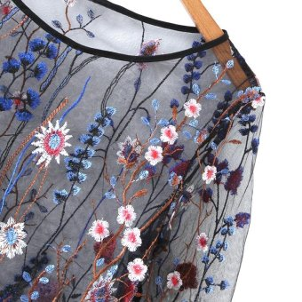 Women See Through Floral Embroidery Mesh Shirts Transparent LongSleeve Blouse Female Casual Tops(Blue) - intl - 3