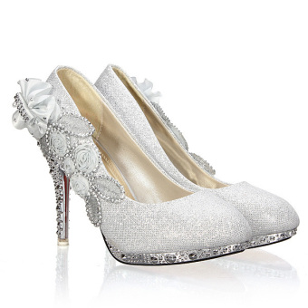 Women Sexy Wedding Bridal Pumps Party Crystal High Heels Silver