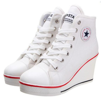 Women Shoes Wedge Heel Shoes Lace Up Canvas Sneakers 8CM(White)