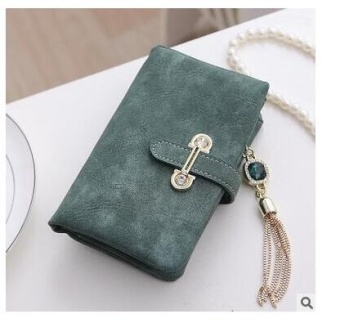 Women Short Purse Fashion Retro Matte Stitching Wallet Clutch WomenCasual Hasp Dollar Price Wallet Handbag Army Green - intl