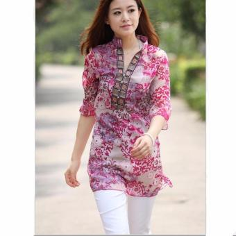 Women Slim V neck Chiffon Vintage 3/4 Sleeve Printed Blouses Shirts Ladies Casual Loose Blouses (Pink) - intl