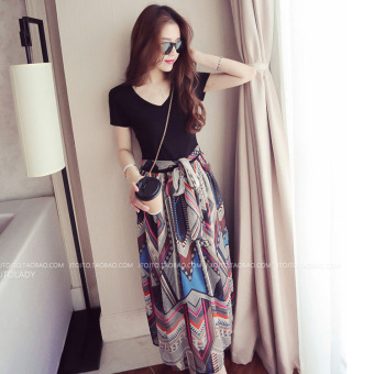 Women slimming V-neck high-waisted chiffon dress bohemian dress skirt