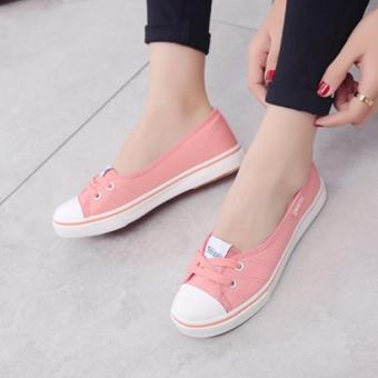 Women Slip-On Canvas Shoes Ladies Low-Cut Casual Flat Shoes (Pink)- Intl - 4