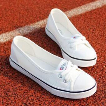 Women Slip-On Canvas Shoes Ladies Low-Cut Casual Flat Shoes (White)