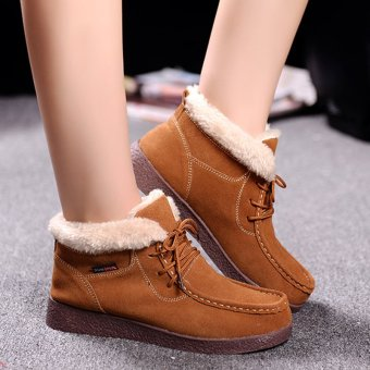 Women Snow Boots Warm Plush Furry Booties Winter Boots Snow Shoes For Women Ankle Boots (Brown) - intl