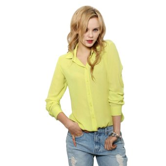 Women Solid Button Autumn Long-Sleeved Chiffon Shirt