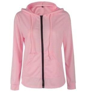 Women Sprint Autumn Jacket Long Sleeve Zipper Hoodies Pink - intl - 3