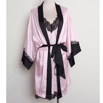 Women Striped Silk Pijama Sexy V-neck Silk Lace Robe Set Sleep Wear2pcs soft woman nightgown - intl - 4