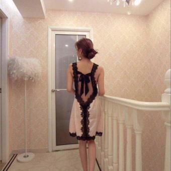 Women Striped Silk Pijama Sexy V-neck Silk Lace Robe Set Sleep Wear2pcs soft woman nightgown - intl - 2