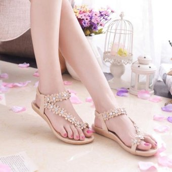 Women Summer Bohemia Flower Beads Flip-flop Shoes Flat Sandals White - intl
