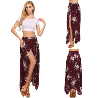 Women Summer Bohemian Style Chiffon Floral Print Side Split Skirt Wine Red - intl