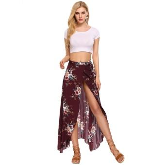 Women Summer Bohemian Style Chiffon Floral Print Side Split Skirt Wine Red - intl - 3